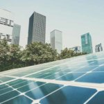 Solar panels used to generate renewable energy for a city