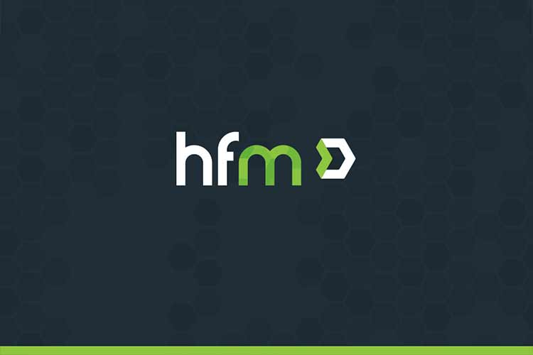 HFM general logo over a dark blue background