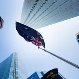Australian flag amongst energy efficient buildings